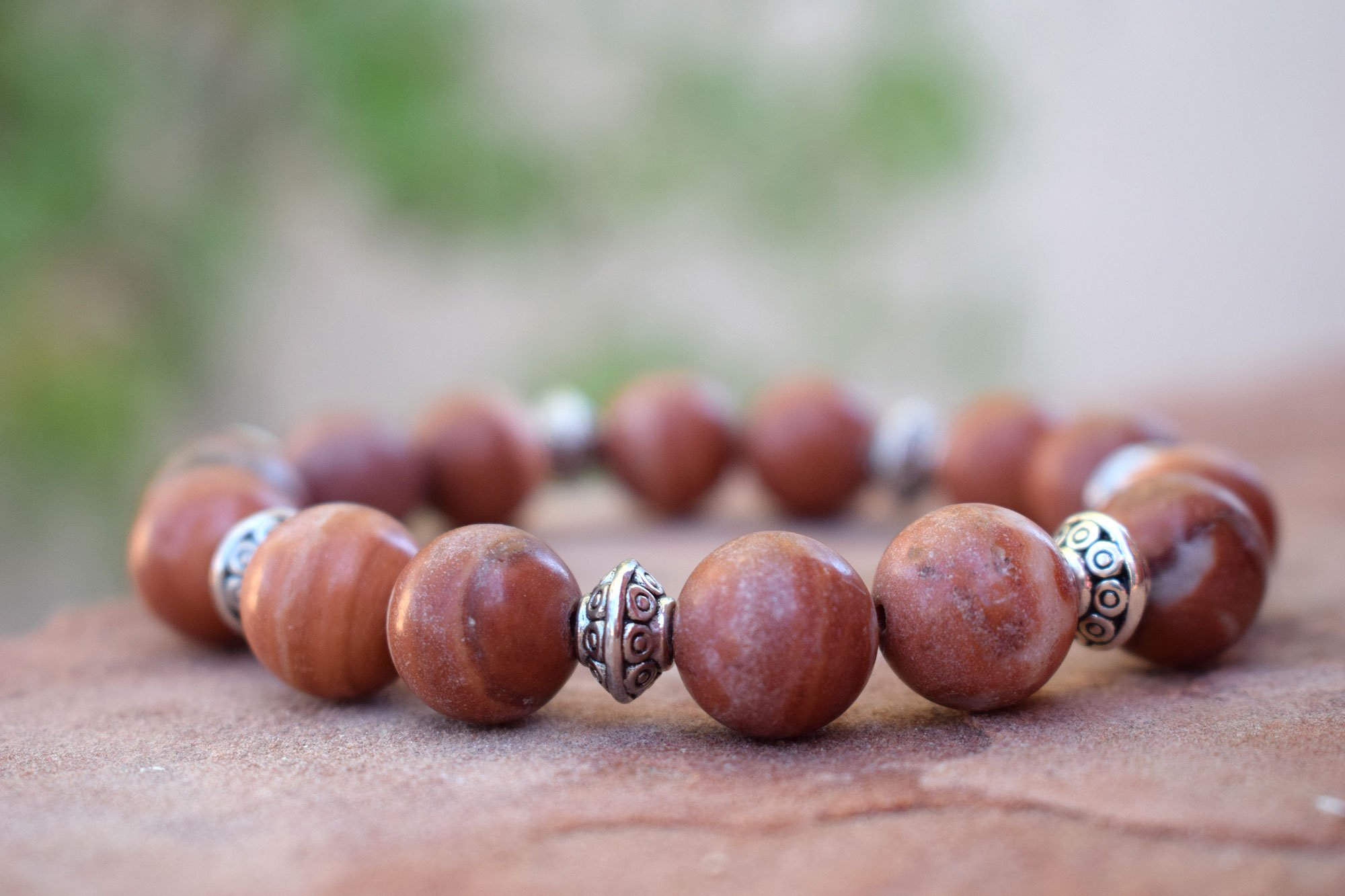 Red Malachite Stone : Red malachite mm stone bracelet with silver