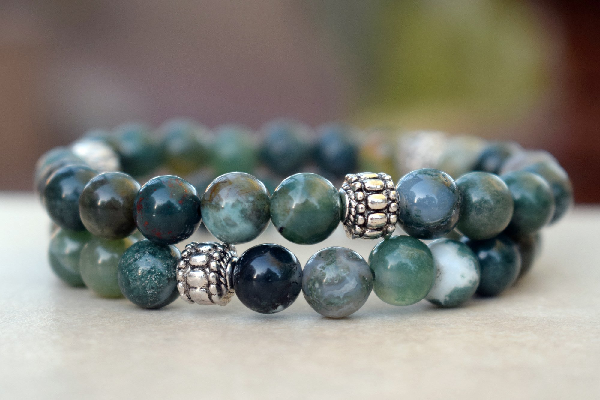 Moss Agate 8mm Bead Bracelet With Silver Set Of Two